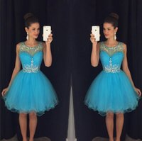 Wholesale mini crystal hearts resale online - Turquoise Prom Dresses Short Homecoming Dresses Puffy Skirt Cocktail Party Dresses Tulle Sweet heart Beads Mini Graduation Gown