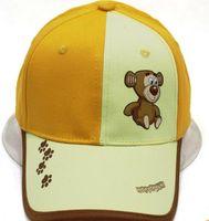 ingrosso gattino giallo-Yellow Summer New Cartoon Kitten Children's Hat Ragazzi e ragazze carini con orecchie Cappello parasole per esterni alla moda