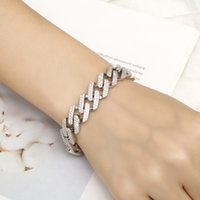 ingrosso protezione del braccialetto-Braccialetto quadrilatero in rame intarsiato con zircone intarsiato con diamanti, gioielli europei e americani