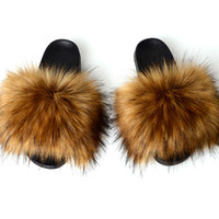 женские домашние тапочки оптовых-Fashion Fake  Fur Slippers Women Summer Slippers Flip Flops Casual Faux Fur Slides Plush Shoes Home Furry Flat Sandals Female
