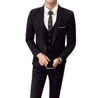coreano casual blazers para homens venda por atacado-(Jaqueta + Calça + colete) Homens Terno De Casamento Masculino 3 Peças set versão Coreana Blazers Slim Fit Business Traje Formal Partido Casual