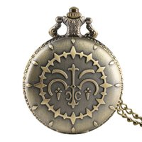 Wholesale big dial watches for women resale online - Retro Quartz Pocket Watch with Bronze Full Hunter for Women Alloy Big Dial Pendant Watch Link Chain for Friends