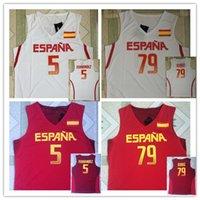 camisetas rio t venda por atacado-ESPANHA 5 RUDY FERNANDEZ 79 rubio Jogos Olímpicos Rio 2016 JERSEY DE BASQUETEBOL EUROBASKET FIBA Camiseta colete Camisetas de basquete costuradas