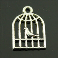 jóia encanto birdcage venda por atacado-200 pcs Pássaro Birdcage Charme Gaiola de Pássaro Encantos de Prata Tibetana Fazer Jóias Acessórios Pássaro Birdcage Charme 11x16mm