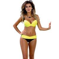 biquíni amarelo do sutiã venda por atacado-Amarelo Biquíni Mid Cintura Push-up Sutiã Acolchoado Piscina Casual Triângulo Banho Vestindo Sexy Clube Biquinis Feminino
