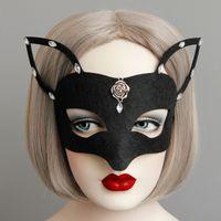 маски для девочек оптовых-Хэллоуин Черная лиса Половина Маска Великобритании Маскарад Серебряный бутон розы Горный хрусталь Деко Половина Лиса Маски для девочек