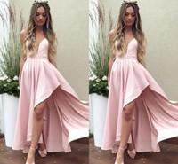 ingrosso abbatti i vestiti del neckline-Sexy illusione scollatura scollatura rosa abiti da cocktail party 2019 gonne asimmetriche abiti da sera indossare ragazze abito da ballo