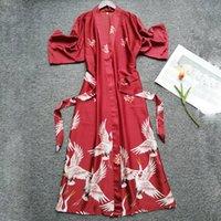 kimono de seda lenceria sexy al por mayor-Verano Mujer Seda Manga corta Túnica de dama de honor Lencería sexy Ropa de dormir Camisón Batas elegantes Estampado satinado Kimono Albornoz