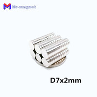 Wholesale rare earth disc magnets sale online - 2019 imanes hot sale x mm Disc Sintered Ndfeb Teaching magnet D7 super strong rare earth x2 neodymium magnets D7x2 mm imanes
