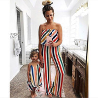 Wholesale mom girl matching clothes resale online - Mommy And Me Multicolor Jumpsuit Family Matching Clothes Baby Girls Off Shoulder Jumpsuit Mom And Daughter Summer Clothes
