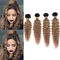Wholesale honey brown hair weave online - Peruvian Human Hair B Honey Blonde Ombre Deep Wave Bundles Gram Light Brown Ombre Deep Wave Curly Virgin Hair Weave Wefts