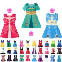 ingrosso i vestiti delle piccole ragazze del fumetto-37 stile Little Girls principessa del fumetto di estate dei capretti dei bambini abiti da principessa vestiti casuali Kid viaggio costume del partito Frocks libera la nave