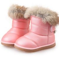 ingrosso scarponi da neve bianchi per bambini-Stivali per bambini Stivali di gomma per bambini Inverno Bambini Addensare Peluche Snow Bambino Warm Leather Short Baby Infant scarpa bianca