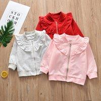 suéter gris niñas al por mayor-Nuevo diseño bebé niña suéter manga larga cremallera rosa gris ruffle coat niños ropa outwear envío gratis