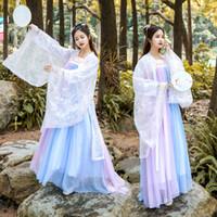 ulusal çince toptan satış-Kadın Hanfu Ulusal Kostüm Eski Çin Cosplay Giysi Çin Halk Dansları Kostüm Prenses Tang Hanedanı Sahne Elbise DL4133
