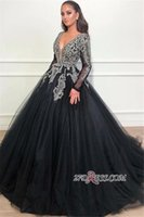 Wholesale water melon flowers ruffles quinceanera online - Black Sequined Beads Ball Gown Quinceanera Dresses Deep V Neck Long Sleeve Sweep Train Sweet Dresses Prom Dresses vestidos de quinceanera