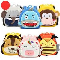 Wholesale monkey backpacks online - Plush Animal Backpacks kids shark elephant schoolbag lion monkey bee plush backpack Cartoon Anti lost Kindergarten school bags GGA1613