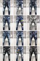 top marcas de jeans para hombre al por mayor-Dsquared2 DSQ2 D2 2019 FW Nueva llegada Diseñador de marca de alta calidad Hombres Denim Jeans Bordado Pantalones Moda Agujeros Pantalones Tamaño EE. UU. 28-38