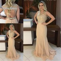 Wholesale vintage maternity wedding dresses for sale - Group buy 2019 Elegant Champagne Long Prom Dresses Scoop Neck Sleeveless Beads Crystal Sexy Open Backless Mermaid Prom Gowns