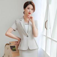 schwarze kurzarm rock anzug großhandel-Frauen-Mädchen-Blazer-Büro-Dame Elegant Short Sleeve Suit Set Arbeitskleidung Weiblich Formale Tops Casual (Jacke + Rock) Apricot / Black