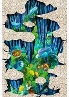 fondo de pantalla de delfines bajo el agua al por mayor-Personalizado 3D autoadhesivo piso foto mural wallpaper Underwater World Dolphin Anemone Clownfish 3D Etiqueta engomada impermeable del piso