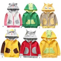 Wholesale baby girl outwear clothes online - Children dinosaur Hooded Coat spring autumn Outwear cartoon kids animal Hoodies Jacket fashion baby boys girls Clothing B11