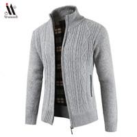ingrosso cardigan da uomo-2019 Brand New Fashion Thick maglioni cardigan cappotto degli uomini Slim Fit Ponticelli Knit Zipper inverno caldo Business Style Men Clothes SH190930