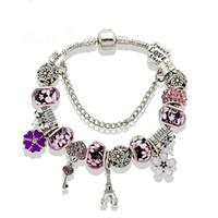 pulseras eiffel al por mayor-Hotsale New Charm Bracelet Silver Pandor Bracelets Castle Beads Torre Eiffel colgante Brazalete para regalo Diy Accesorios de joyería con caja
