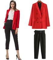 kadın için uygun ofis toptan satış-Ofis Bayan Pantolon Siyah Takım Elbise Pantolon Kadın Yüksek Bel Pantolon Sashes Moda Orta Yaşlı Mor Haki Pantolon Boyut XS L Cepler