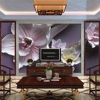 tv arka planı ev toptan satış-3D Stereo Kabartma Çiçekler Duvar Kağıdı Oturma Odası TV Kanepe Arka Plan Duvar Kaplaması Klasik Çiçek Ev Dekor Papel De Parede
