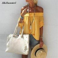 sexy blusa amarilla al por mayor-Las mujeres atractivas del hombro de la blusa 2019 del nuevo del verano de la raya vertical del cuello de la calle principal camisas manera de las tapas Amarillo Blanco Blusas Femenina