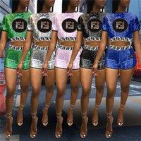 bling hemden frauen großhandel-Pailletten F Brief Frauen Sommer Trainingsanzug Bling Shinny Glitter Outfit Ernte Top T-shirt + Shorts 2 stück Set Sportswear Club Kleidung C42903