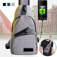 ciclismo de ocio al por mayor-Bolsos de hombro para hombre USB de carga Crossbody Chest Bag Messenger Bag Male Leisure Casual Outdoor Travel Cycling Riding Back Pack