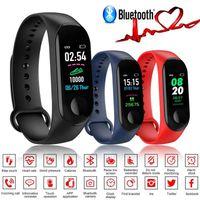 hatırlatma bantları toptan satış-M3 Renkli Ekran Akıllı Bilezik spor izci Kalp Hızı Kan Basıncı Oksijen Çağrı Hatırlatma iOS Android Için Spor Su Geçirmez Akıllı Bant