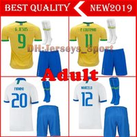 kits de futebol amarelo venda por atacado-2019 Brazil home Kit Adulto Camisa de Futebol 19 20 Brasil FIRMINO MARCELO G.JESUS P.COUTINHO camisas de futebol + Shorts meias