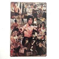 ingrosso giardino segno-Bruce Lee con Kungfu Vintage Metal Sign decorativo Cafe Bar Garden Room Garage Club Gas Station dipinto Poster retrò