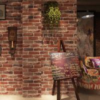 tuğla duvar kağıtları toptan satış-Rustik Eski 3D Sahte Tuğla Duvar Kağıdı Rulo Vinil PVC Retro Endüstriyel Loft Duvar Kağıdı Kırmızı Siyah Gri Sarı Yıkanabilir Ev dekor