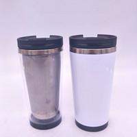 tapa de la taza de café blanco al por mayor-Vaso de Storyboard de 16 onzas Taza de vaso con taza de café con tapa de acero inoxidable 304 tapa con un papel blanco