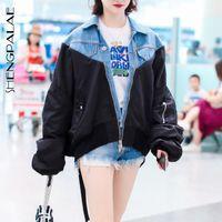 chaqueta abajo de las mujeres coreanas al por mayor-SHENGPALAE 2019 Nueva Primavera Patchwork Denim Jacket Turn-down Collar de la personalidad de la manga larga suelta Las mujeres de Corea Moda FI247 Escudo