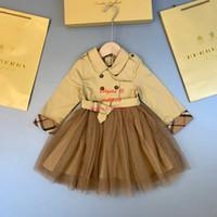 neues stoff für kinder großhandel-Kleidungskleid scherzt nähendes Kleid des Entwerfer Mädchenherbstes mit dem ungezwungenen Kleid der Windjacke-Gewebemode neu