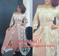 largos vestidos de noche islámicos al por mayor-Simple 2019 Pink Chiffon musulmanes vestidos de noche con 3/4 mangas encaje blanco islámico Dubai Formal vestidos de fiesta árabe árabe largo vestido de fiesta