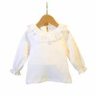 tops ruffle t lange ärmel bluse großhandel-Mode Baby Tops Cotton Langarmshirt Baby Bluse Rüschenkragen Tops T-Shirts Weiß 0-3Y DQ956