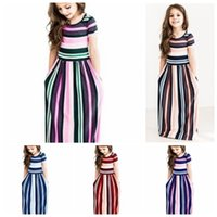 Wholesale fringe dress girl for sale - Group buy Short sleeve baby girls striped long beach dress colors Vertical fringes girl casual summer skirts kids fashion clothing