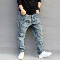 verjüngte jeans männer hosen großhandel-Jeans Herren Herren Denim Pluderhosen Lose Hip-Hop Hosen Large Size Skateboard Herren Konische Größe S-4XL