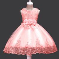 bale giysileri kız toptan satış-1 adet çocuk giyim Yaz Kız Dantel Elbise Kız Çiçek Elbise Etek Çocuk Bale Performansı Kostüm