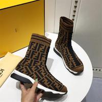 ingrosso nuove pompe di stile-2018Fendi Sneakers Mania stile calzino new Season Sneakers piatte in maglia da ginnastica Look Sport Shoes pumps con box