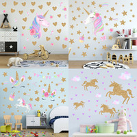 ingrosso arte della parete delle neonate-8 stili di moda per bambini unicorno adesivo da parete per bambini ragazze simpatico cartone animato PVC arte adesivo impermeabile adesivi murali decorazioni per la casa Wallpaper
