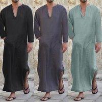 52036194e5 2018 Men Full Length Kaftan 100% Cotton Lounge Wear Home Robed Loungewear  Sleepwear Islamic Arab Loose Pajama V-neck Solid S-3XL