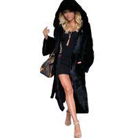 шубы из черной лисицы оптовых-Women Winter Black Hooded Faux Fur Coat  Fur Long Jacket Female Fashion Outwear Plus Size Coats Warm Overcoat Windbreak 4XL