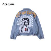 мытье джинсовой куртки женщин оптовых-Dropshipping Vintage Virgin Mary Painting Print Jeans Jackets Hip Hop Streetwear Loose Washed Denim Jacket Coat Men Women